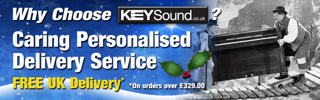 Keysound in Leicester will deliver your new piano or keyboard FREE OF CHARGE on any orders over £329.00.