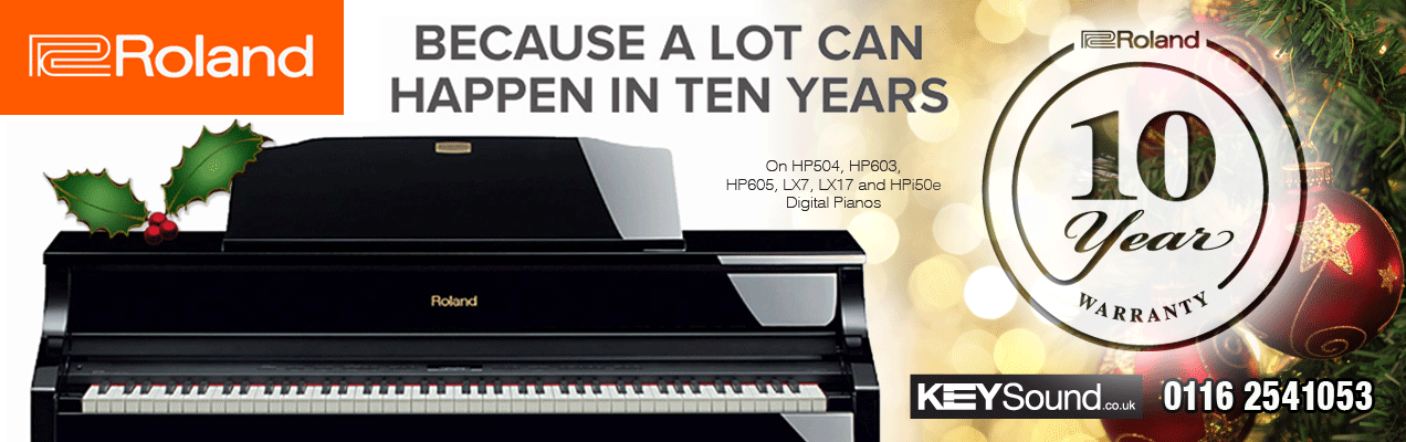 Roland is offering a 10 Year Warranty on HP504, HP603, HP605, LX7 and HPi50e Digital Pianos.