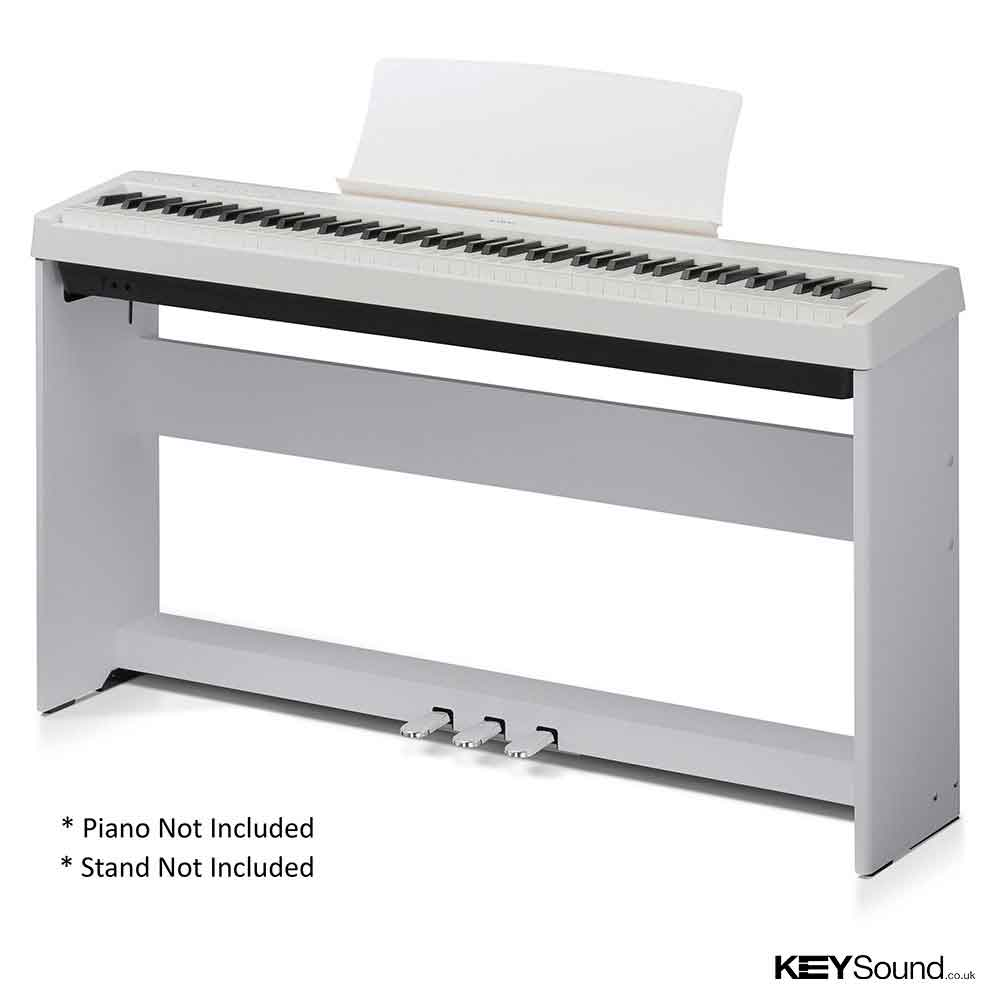Kawai f350 w three pedal unit white keysound piano for Yamaha piano pedal unit