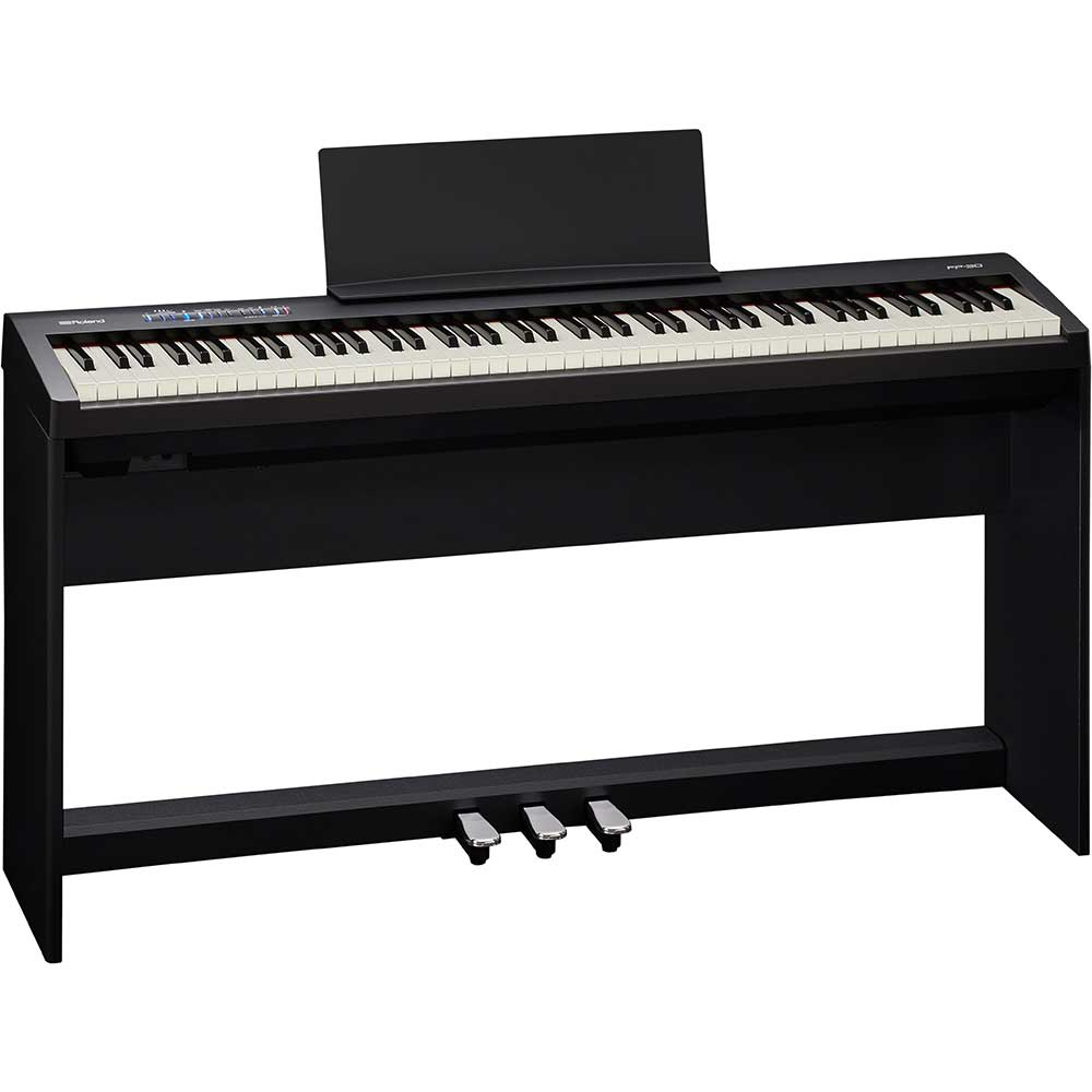 Roland fp30 bk digital piano including stand and 3 pedal for Yamaha piano pedal unit